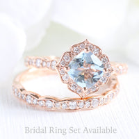 aquamarine engagement ring set in rose gold mini vintage floral by la more design