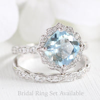 vintage floral aquamarine ring bridal set in white gold by la more design