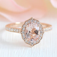 vintage floral oval morganite engagement ring rose gold milgrain diamond band by la more design jewelry