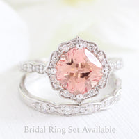 vintage floral peach sapphire ring bridal set in white gold by la more design