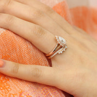vintage halo pear moissanite ring and crown diamond band bridal set rose gold by la more design