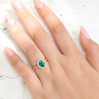 vintage inspired emerald engagement ring in rose gold diamond scalloped band by la more design jewelry