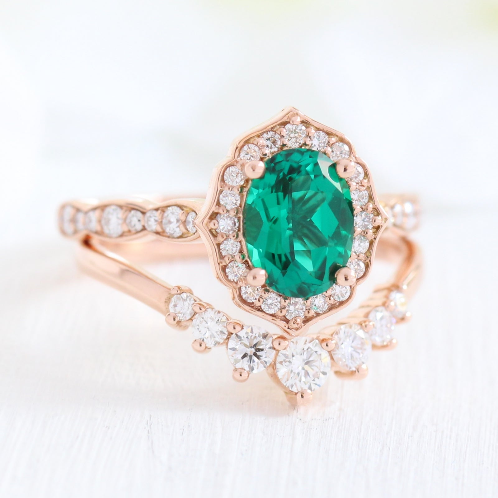 It is just a graphic of Oval Vintage Floral Bridal Set w/ Emerald and 45 Stone Diamond Ring