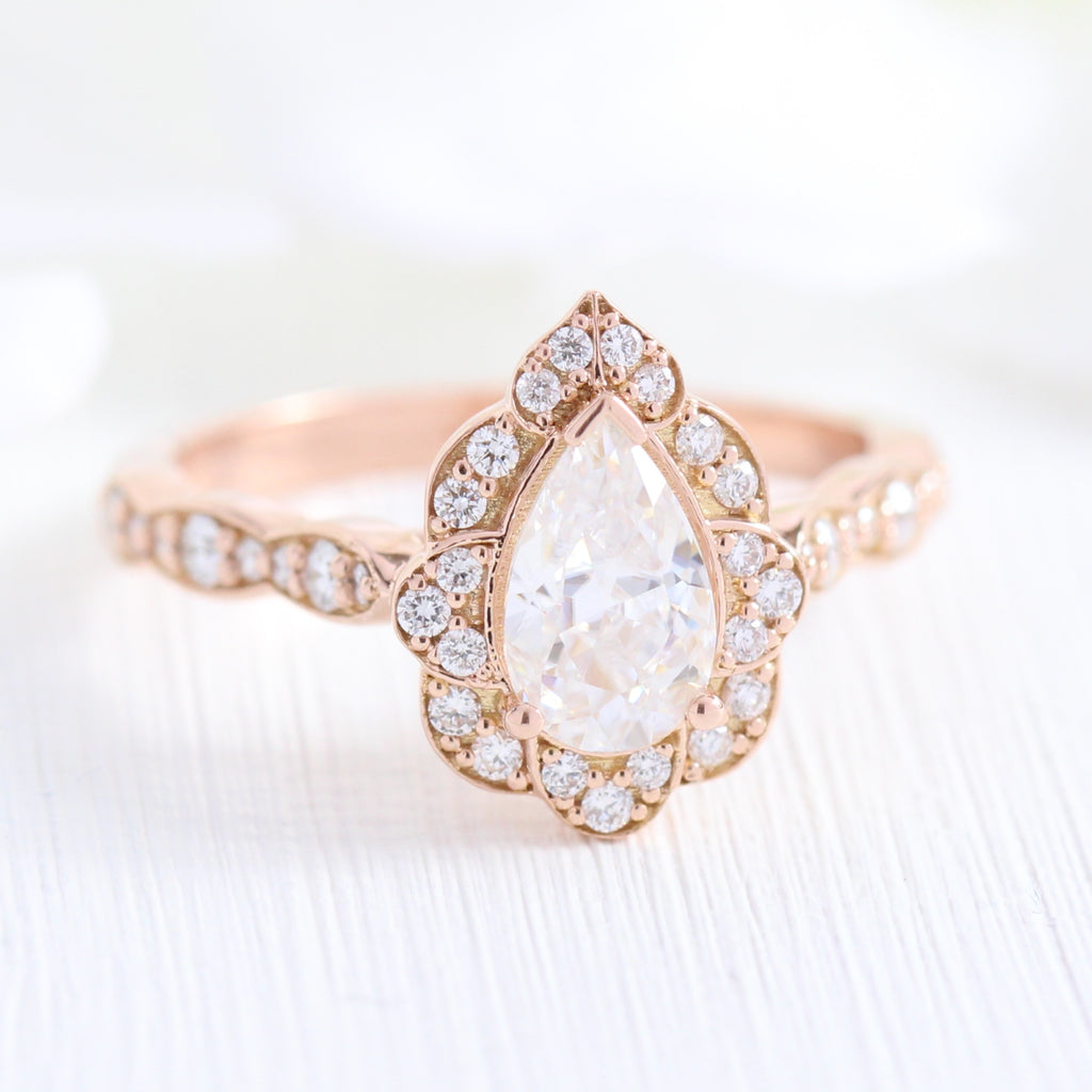 Vintage Floral Pear Ring In Scalloped Band W Forever One Moissanite And Diamond La More Design