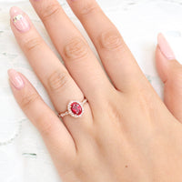 vintage inspired oval ruby engagement ring in rose gold diamond scalloped band by la more design jewelry