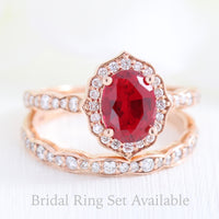 vintage inspired oval ruby ring and matching diamond wedding band in rose gold bridal set by la more design jewelry