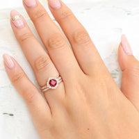 vintage inspired ruby ring and matching diamond wedding band in rose gold bridal set by la more design jewelry