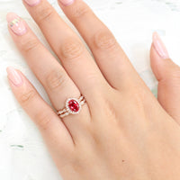 vintage style oval ruby ring and matching diamond wedding band in rose gold bridal set by la more design jewelry