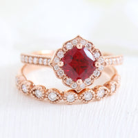 vintage inspired ruby ring and milgrain diamond wedding band in rose gold bridal set by la more design jewelry