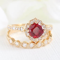 vintage inspired ruby ring bridal set in yellow gold diamond band by la more design