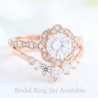 vintage style moissanite ring and 7 stone diamond wedding band in rose gold bridal set by la more design jewelry