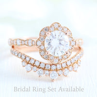 vintage style moissanite ring and cronw diamond wedding band in rose gold bridal set by la more design jewelry