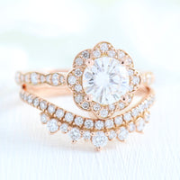 vintage style moissanite ring and crown diamond wedding band in rose gold bridal set by la more design jewelry