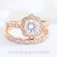 vintage style moissanite ring and matching diamond wedding band in rose gold bridal set by la more design jewelry