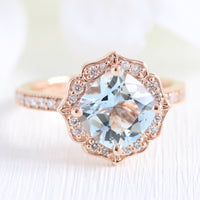 vintage floral aquamarine engagement ring rose gold milgrain diamond band by la more design jewelry