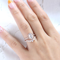 vintage floral diamond moissanite ring bridal set rose gold curved wedding band la more design jewelry