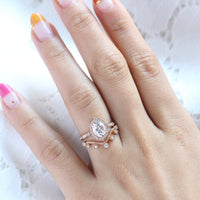 vintage floral diamond moissanite ring set rose gold curved leaf wedding band la more design jewelry