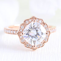 vintage floral moissanite engagement ring rose gold milgrain diamond band by la more design jewelry
