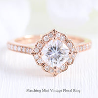 vintage halo diamond moissanite engagement ring rose gold wedding band la more design jewelry