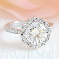 vintage floral moissanite engagement ring white gold milgrain diamond band by la more design jewelry