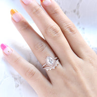 vintage floral moissanite ring bridal set rose gold crown diamond wedding band la more design jewelry