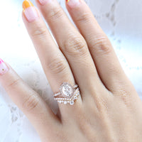 vintage floral moissanite ring bridal set rose gold large diamond v shaped wedding band la more design jewelry