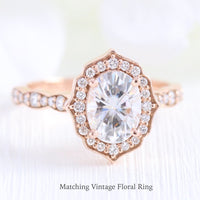 vintage halo diamond moissanite engagement ring rose gold wedding band la more desgn jewelry