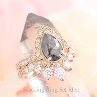 vintage floral salt and pepper diamond ring rose gold pear cut ring la more design jewelry