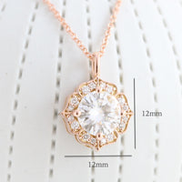 vintage halo diamond moissanite pendant rose gold drop necklace la more design jewelry