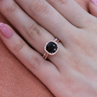 halo diamond black spinel ring bridal set in rose gold black diamond band by la more design