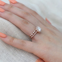 wedding set rose gold cushion moissanite ring milgrain diamond band by la more design