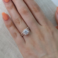 Vintage inspired moissanite diamond ring set in rose gold by la more design