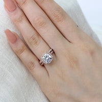 wedding set rose gold cushion moissanite ring scalloped diamond band by la more design