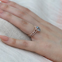 rose gold oval aquamarine ring bridal set and milgrain diamond wedding band by la more design