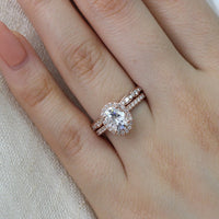 rose gold oval moissanite engagement ring bridal set and scalloped diamond band by la more design