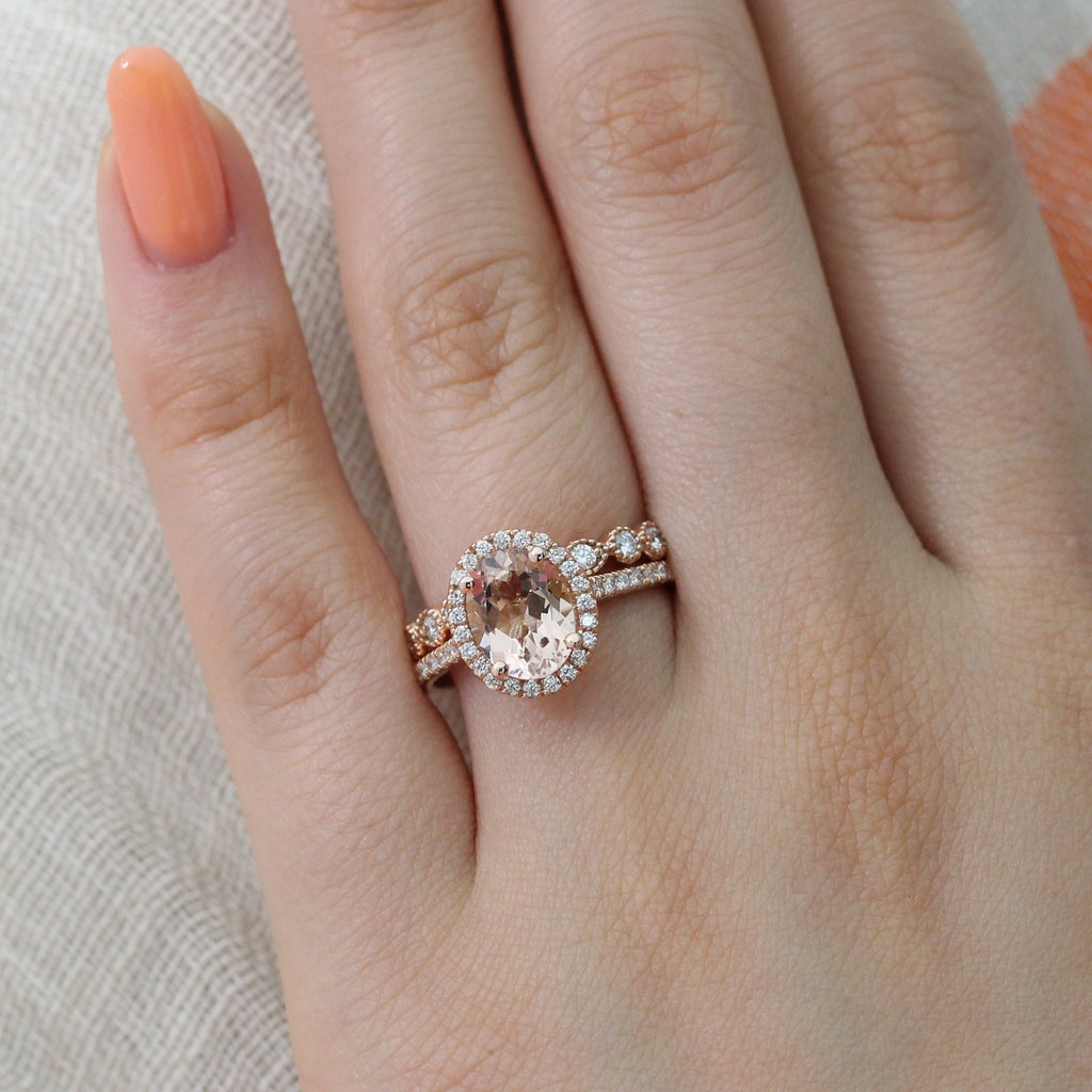 Oval Halo Morganite Ring Bridal Set in Diamond Milgrain Band 9x7mm | La  More Design