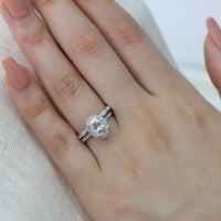 wedding set white gold oval moissanite ring scalloped diamond wedding band by la more design