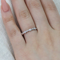 Pebble Diamond Ring Half Eternity Band 14k White Gold, Size 7.25