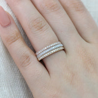 rose gold yellow gold white gold half eternity diamond wedding ring milgrain band by la more design