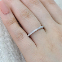 half eternity diamond wedding ring in white gold milgrain band by la more design