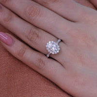 white gold forever one moissanite ring scalloped halo diamond engagement ring by la more design