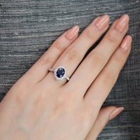 white gold oval blue sapphire engagement ring scalloped band floral ring by la more design