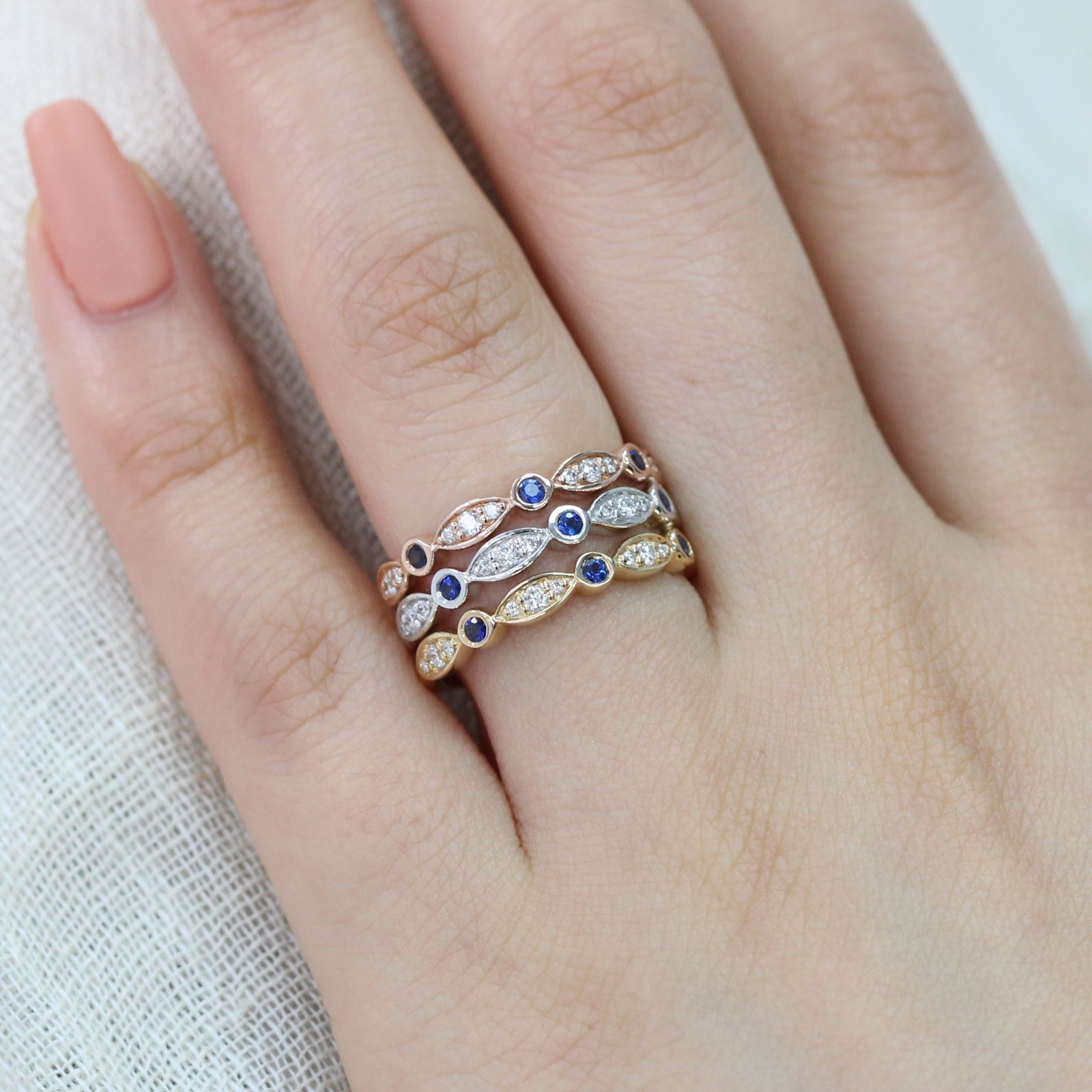 ideal ring engagement sapphire the group pair band perfect combinations wb wedding engagment