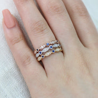 bezel diamond sapphire wedding ring yellow gold rose gold white gold by la more design