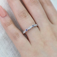 white gold sapphire diamond wedding band bezel ring by la more design