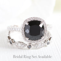 white gold halo diamond black spinel cushion ring set by la more design