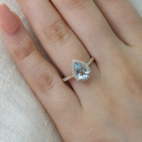 pear aquamarine engagement ring rose gold diamond wedding band bridal set la more design jewelry