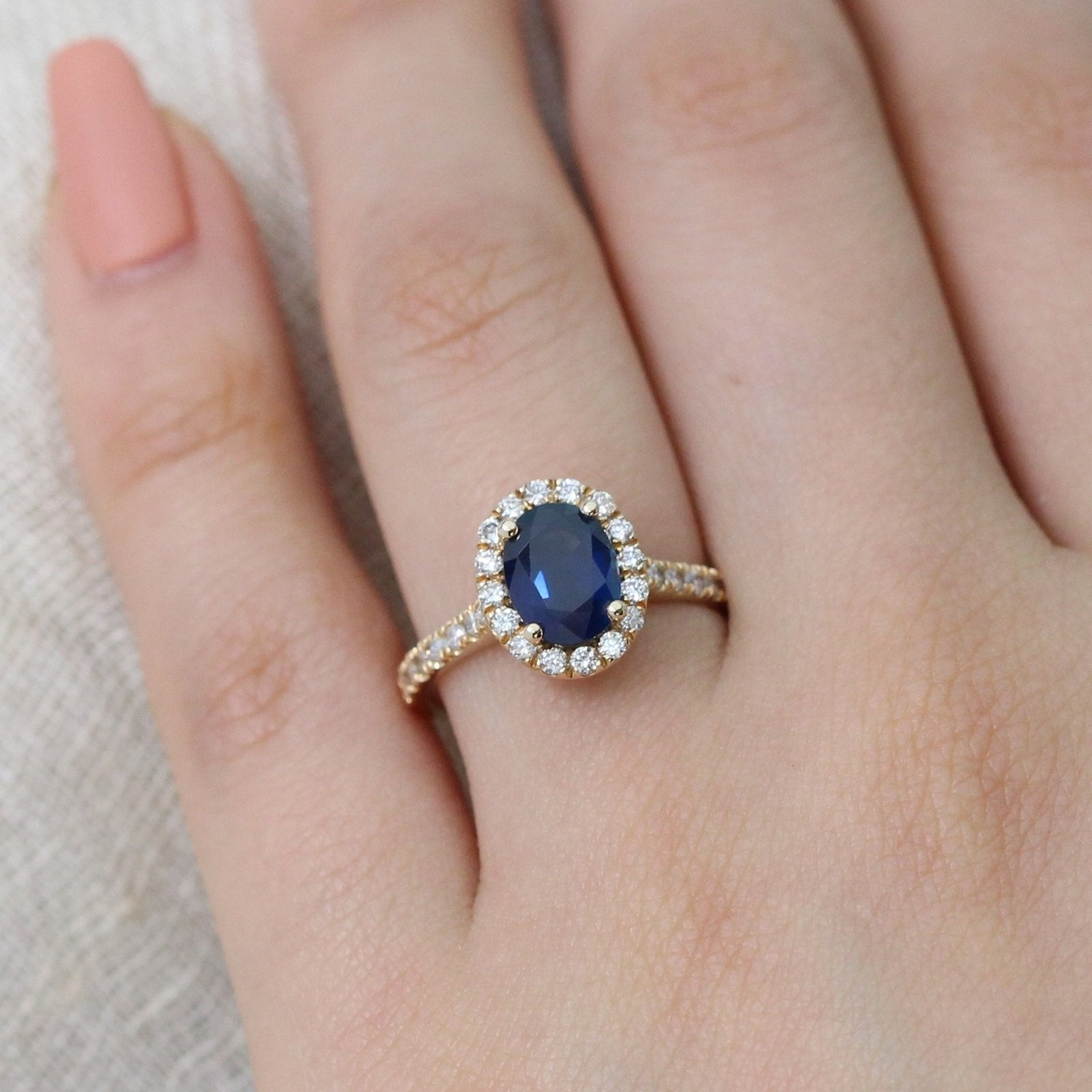 Luna Halo Ring in Pave Band w/ Oval Blue Sapphire and Diamond | La ...