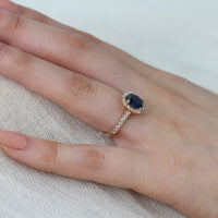 yellow gold halo diamond oval sapphire engagement ring by la more design