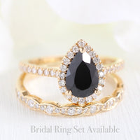 Luna Halo Ring in Pave Band w/ Pear Black Spinel and Diamond